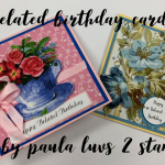 2 fabric belated birthday cards